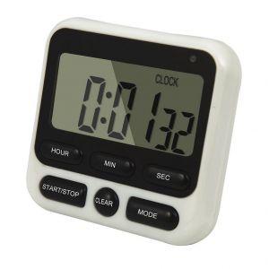 Qumox Minuteur Numérique De Cuisine Chronomètre Magnétique Avec Alarme Sonore Écran Lcd Horloge Noire