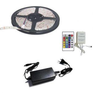 Silamp Kit Ruban LED RGB 12V 5050 30LED/m (Inclus contrôleur et alimentation)