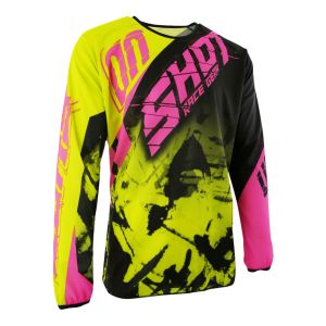 Shot Maillot cross destockage DEVO SQUAD LIME NEON ROSE 2017