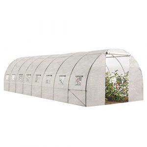 Idmarket Grande Serre de Jardin Tunnel maraîchère Pro galvanisée 24m² 8x3x2m Blanche