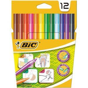 Bic Feutres de coloriage for school x12 - Corps et capuchon colorés - Encre lavable