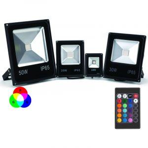 SysLED Projecteur LED Couleur RGB Intérieur/Extérieur Extra Plat Avec Télécommande - 10W, 20W, 30W, 50W, 100W (Nouveau !) | Puissance Watt: 20 Watts/1940lm / 176W
