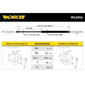 Monroe ML5416 Ressort pneumatique, coffre - 1 pièce