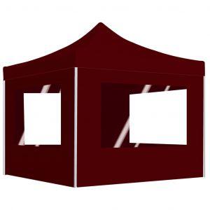 VidaXL Tente de réception pliable avec parois Aluminium 3x3 m Bordeaux