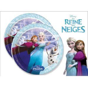 8 assiettes en carton La Reine des Neiges (23 cm)