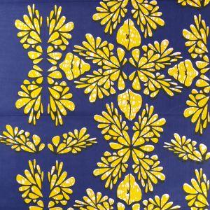 Craftine Tissu Wax Africain N°347 Fleurs Jaunes sur fond Bleu marine