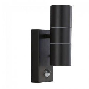 Searchlight Applique led extérieur et porche gu10 led ip44 2 ampoules noir + tube capteur