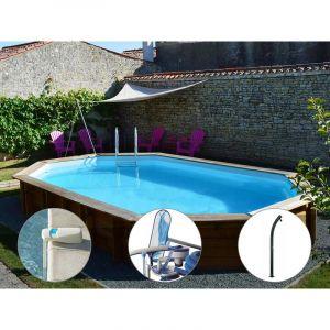Sunbay Kit piscine bois Safran 6,37 x 4,12 x 1,33 m + Alarme + Kit d'entretien + Douche