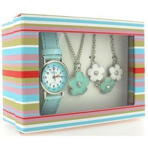 The Olivia Collection KS005 - Coffret montre pour fille avec pendentif et bracelet à fleurs