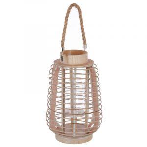 "Lanterne en Verre ""Rattan"" 33cm Naturel Prix"