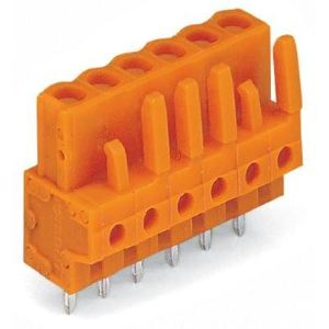 Wago 232-166 - Connecteur femelle droit orange 6 pôles avec broches à souder sur circuit imprimé pas 5.08 mm emballage industriel de 50