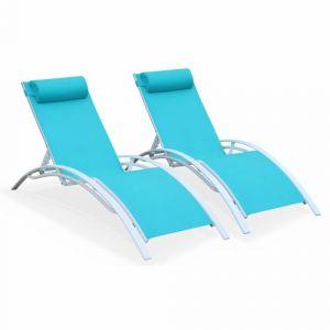 Alice's Garden Duo de bains de soleil en aluminium et textilène-Turquoise