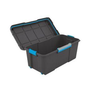 KIS Grand coffre de rangement à roulettes en plastique opaque 65 L