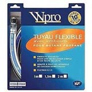 Wpro TBC208 - Tuyau flexible avec embouts pour gaz butane/propane (2 m)