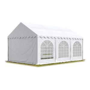 Intent24 TOOLPORT Tente Barnum de Réception 4x6 m ignifugee PREMIUM Bâches Amovibles PVC 500 g/m² blanc Cadre de Sol Jardin.FR