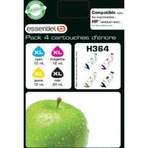 EssentielB H364XL4CL - Pack de 4 cartouches d'encre (noir, cyan, jaune et magenta) compatibles HP 364 XL