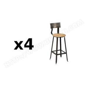 Inside75 Lot de 4 chaises de bar OLYMPE en acier vieilli