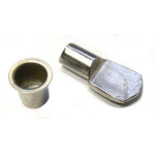 Strauss Taquet d'étagère acier - Tige de 7 mm - Nickelé - 4 taquets et 8 douilles