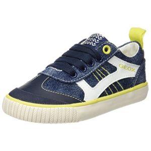 Geox Kiwi J, Sneakers Basses Garçon, Bleu (Navy/Limec0749), 29 EU