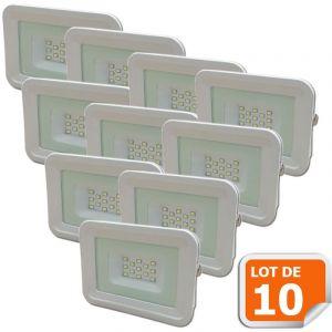 Lampesecoenergie Lot de 10 LED Projecteur Lampe 10W Blanc 6000K IP65 Extra Plat