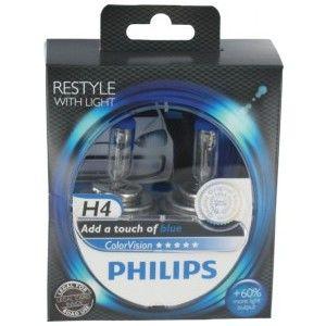 Philips 2 Ampoules H4 ColorVision Bleu 60/55 W 12 V