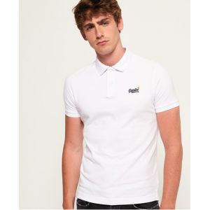 Superdry Classic S/s Pique Polo, Blanc (Optic White 26C), Small Homme