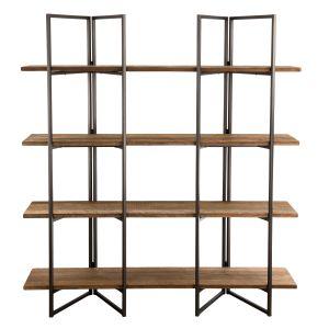 LesTendances Bibliothèque design métal et bois recyclé - Thekku