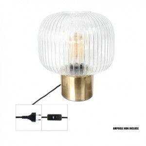 The Home Deco Light Lampe à poser en verre et métal doré vintage