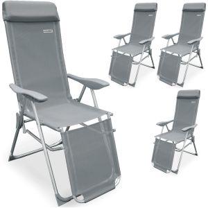 Deuba Casaria - Lot de 4 Fauteuils de jardin pliable • Réglage 7 positions • Chaise longue pliante • Transat • Appui-tête & Repose-pieds - Jardin terrasse camping