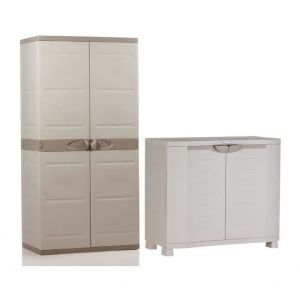 Plastiken Armoire basse de rangement et armoire de rangement haute 4 tablettes
