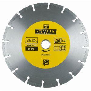 Dewalt Disques diamantés segmentés pour tronçonnage à sec/Diamètre:230 mm / Alésage:22.2 mm / Hauteur des segments:7 mm / Largeur des segments:2.3 mm / Quantité par emballage:1 / Quantité minimale de commande:1 DT3731