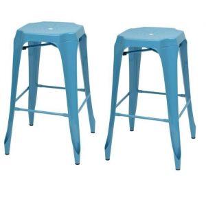 KRAFT Mary Lot de 2 tabourets de bar - Métal bleu satiné - Style industriel - L 47 x P 47 cm - Assise H 75.5cm - Tabouret industriel en Métal bleu satiné - Assise L 47 x P 47 cm - Lot de 2