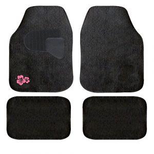 Peraline Jeu de tapis moquette broderie hibiscus rose