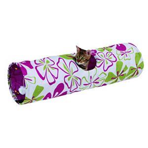 Kerbl Tunnel de jeu pour chat Motif fleurs 25 x 90cm