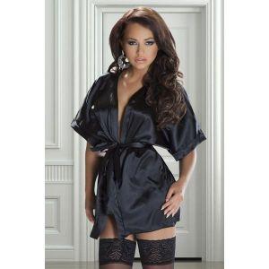 LRDP Peignoir satin, vetement sexy Avanua Couleur Noir Tailles S/M