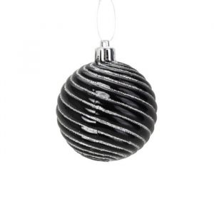 4 boules en PVC noir Spirale (8 cm)