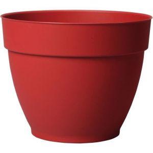 Deroma Pot de fleur rond Ninféa à réserve d'eau - Ø 22 x H 17 cm - 4,4 L - Rouge griotte