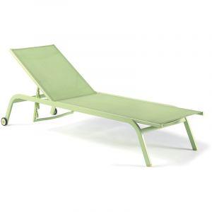 Gecko jardin Bain de soleil aluminium et textilène vert anis Perth