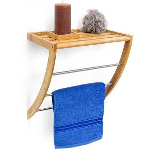 Relaxdays Étagère porte-serviettes en bambou 3 barres de séchage en métal salle de bain Déco H xlxP : 40 x 38 x 24,5 cm, nature