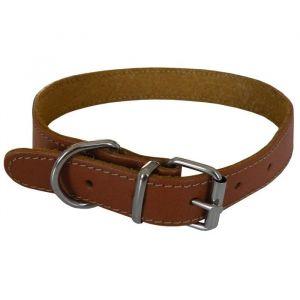 YAGO Collier en cuir - Taille L 43-54 cm - Marron - Pour grand chien