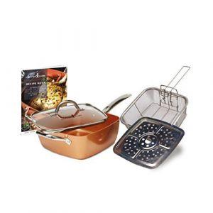 Copper chef Kit de poêle carrée, Profonde, antiadhésive, Cuivre, 24,1 cm, Large, Cuivre, cuivré, 54 x 29.5 x 17.5 cm