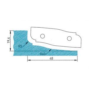 Diamwood Platinum Plaquette profilée 50 x 16 x 2 mm profil 09.1122 N° 2 pour porte-outils plate-bande par-dessous