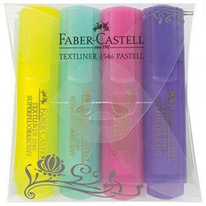 Faber-Castell 154610 - Etui de 4 surligneurs TEXTLINER 1546, rechargeables, coloris assortis pastel