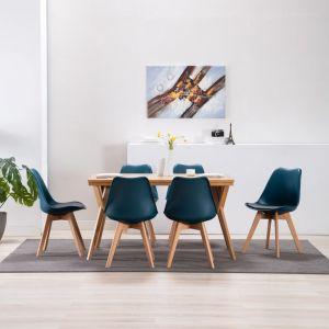 VidaXL Chaise de salle à manger 6 pcs Turquoise et noir