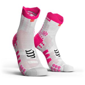 Compressport Chaussettes Racing Socks V3 0 Run Hi - White / Pink - Taille EU 42-44