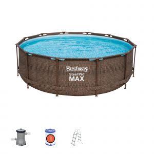 Bestway Piscine Hors-sol Tubulaire Steel Pro Max Diseño Rotin 366x100 cm Filtre à Cartouche de 2.006 litres/heure