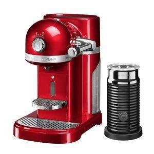 Kitchen Aid Artisan 5KES0504 - Machine à café + Aeroccino - rouge pomme d'amour/brillant/1160W/ 19 bar/avec Aeroccino - lait moussant