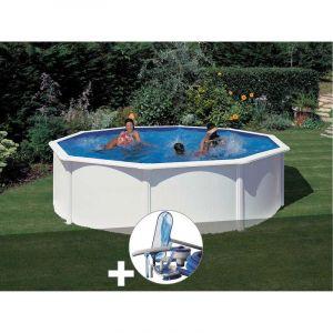 Gre Kit piscine acier blanc Fidji ronde 4,80 x 1,22 m + Kit d'entretien