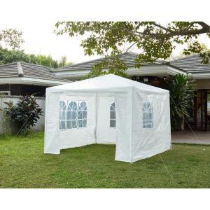 Tonnelle de jardin Bari En acier toile polyester 3 x 3 m Blanc