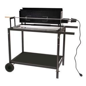 Somagic Grill Pro - Barbecue à charbon spécial rôtisserie sur chariot